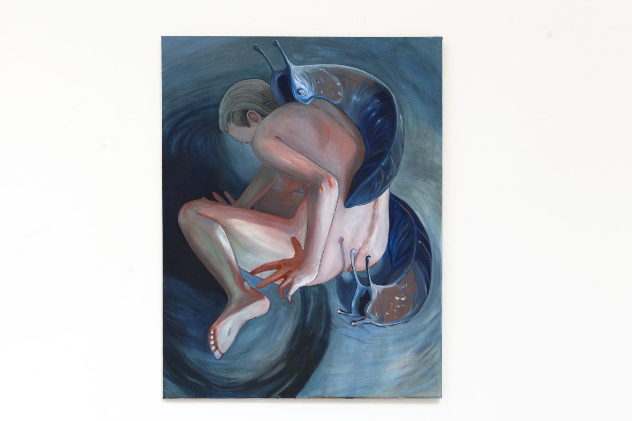 Franziska Dathe, Bedrängnis, Öl auf Leinwand, 130 x 100 x 2 cm, 2021