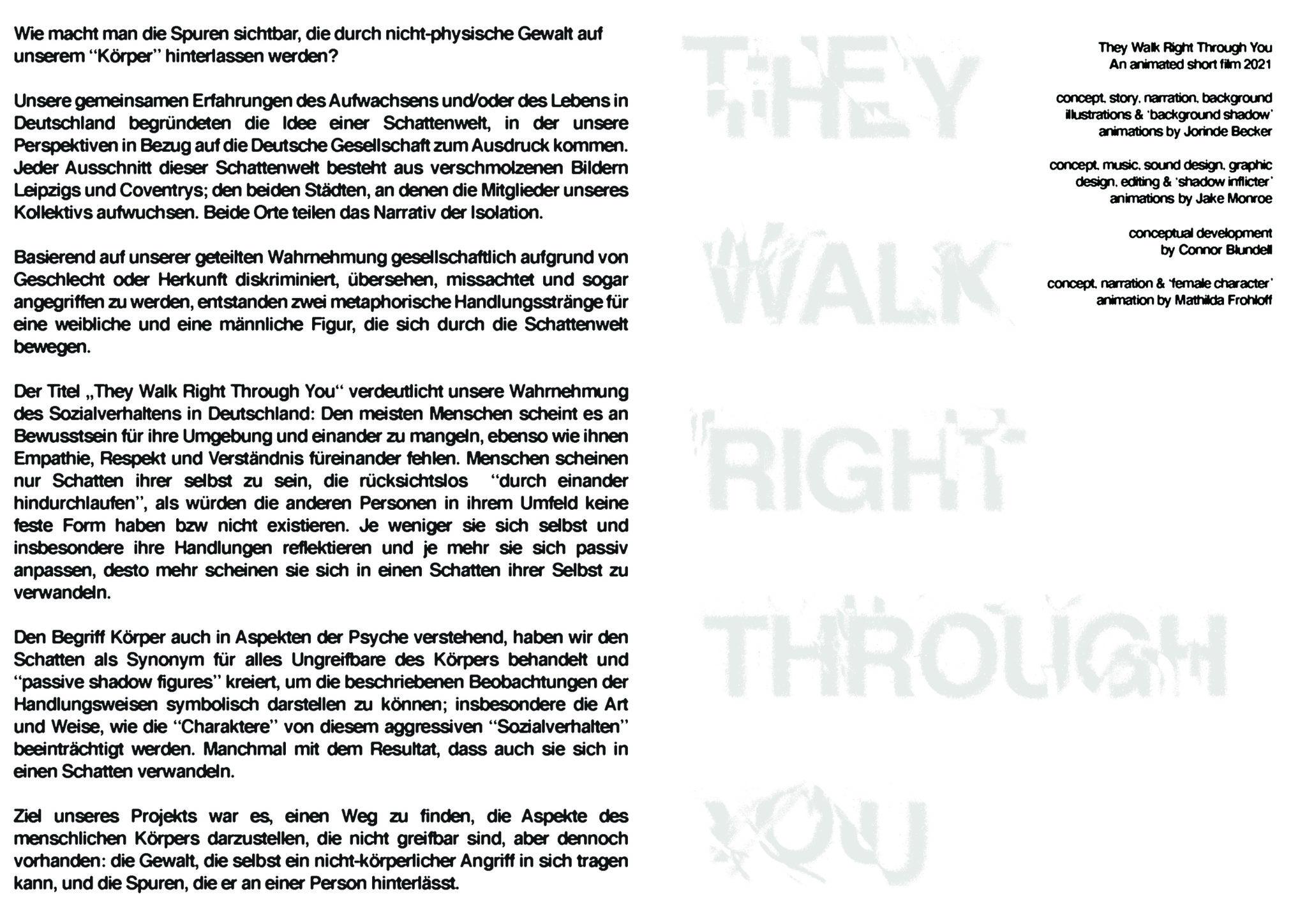 Jorinde Becker, Mathilda Frohloff, Jake Monroe, Connor Blundell, They Walk Right Through You, Deutsche Textversion zum Kurzfilm, 2021