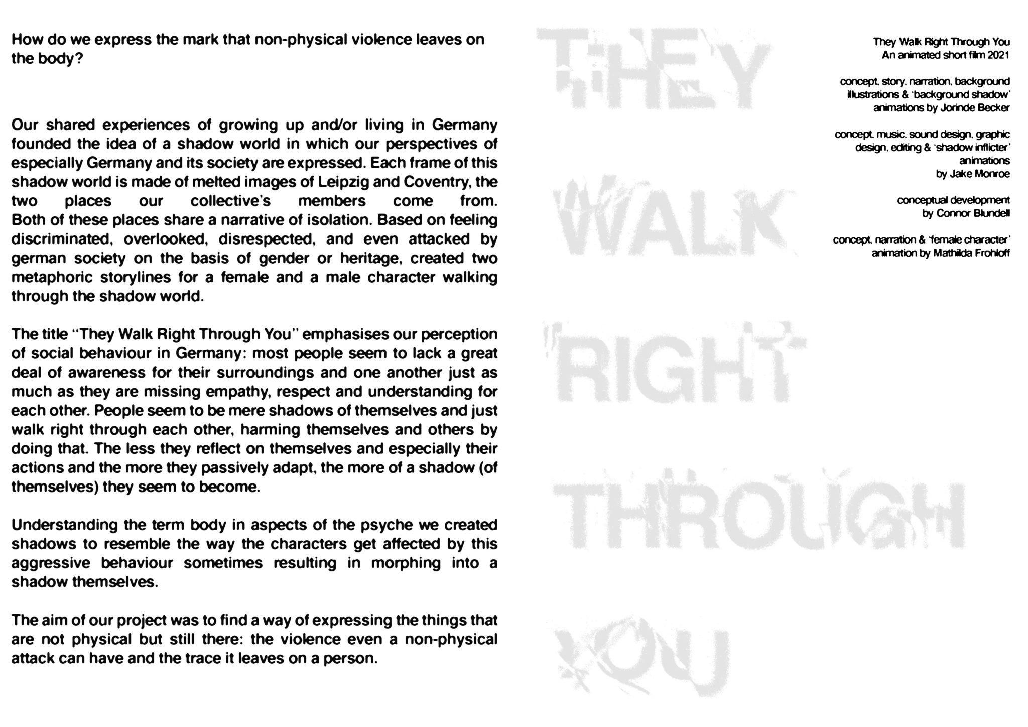 Jorinde Becker, Mathilda Frohloff, Jake Monroe, Connor Blundell, They Walk Right Through You, Englische Textversion zum Kurzfilm, 2021