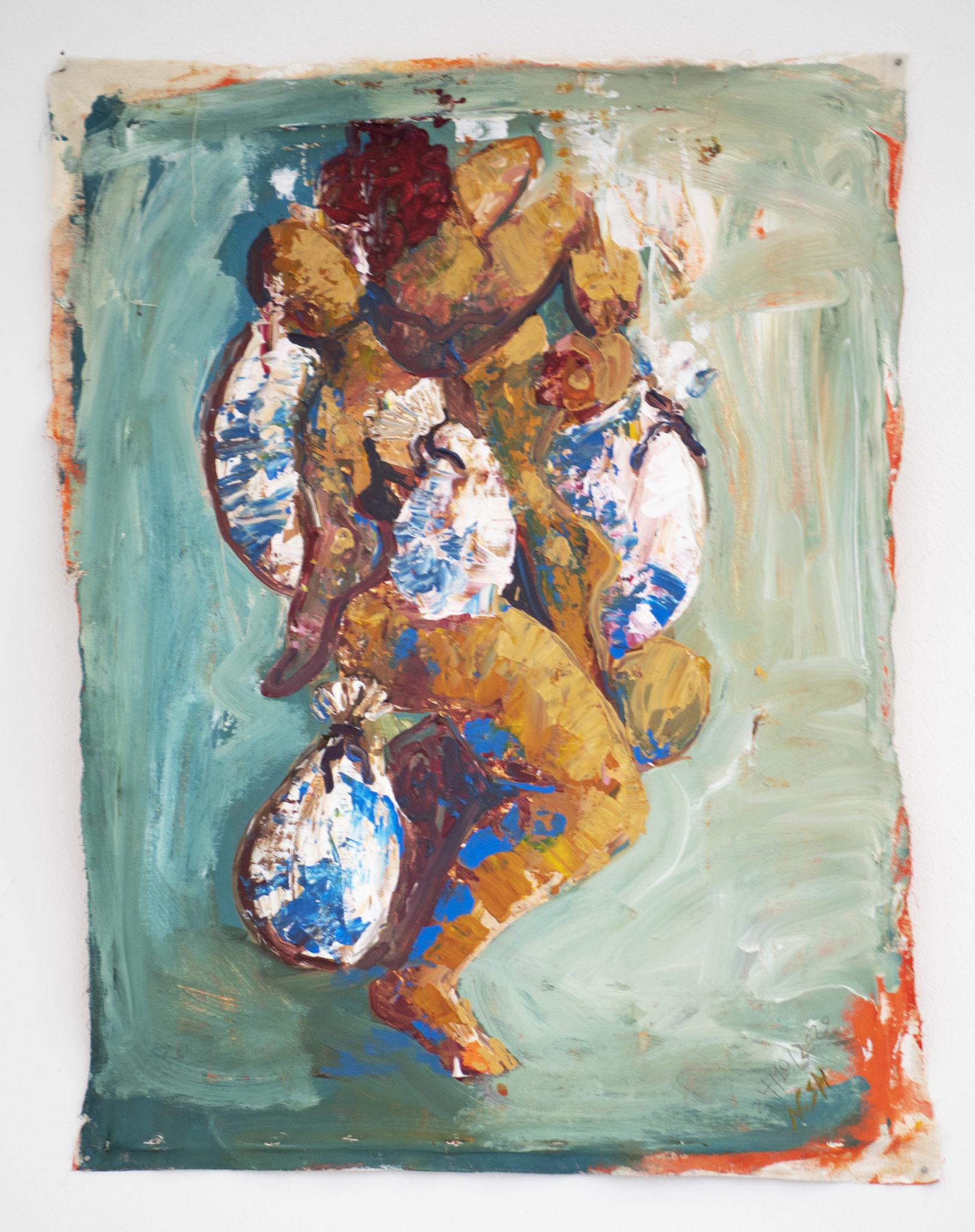 Nesren Shalgheen, Die Entstehnung, Acryl auf Leinenstoffe, 80x65 ,2020